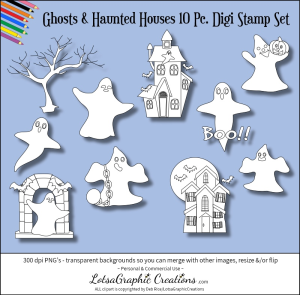 ghosts & haunted houses 10 pc. digi stamps set