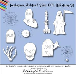 tombstones, skeleton & spider 10 pc. digi stamps set