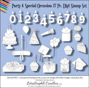 party & special occasion 27 pc. digi stamp set
