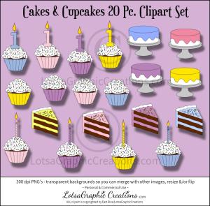 cakes & cupcakes 20 pc. clipart set
