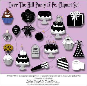 over the hill party 17 pc. clipart set