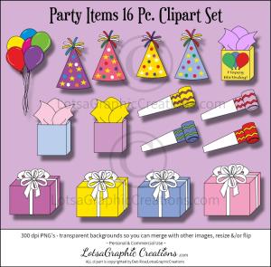 party items 16 pc. clipart set