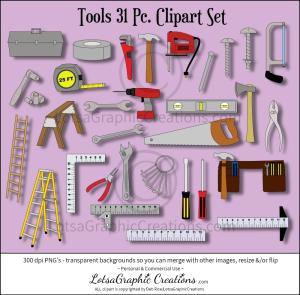 tools 31 pc. clipart set