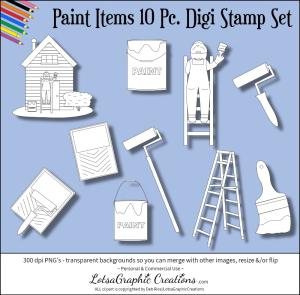 paint items 10 pc. digi stamp set
