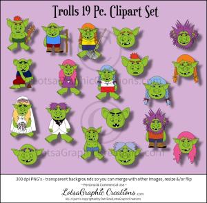 trolls 19 pc. clipart set