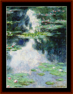 pond with waterlilies - monet cross stitch pattern by cross stitch collectibles