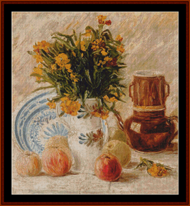 still life with peaches – van gogh cross stitch pattern by kathleen george at cross stitch collectibles