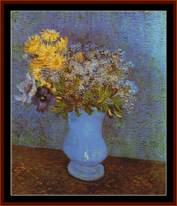 blue vase with flowers – van gogh cross stitch pattern by kathleen george at cross stitch collectibles