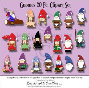 gnomes 20 pc. clipart set