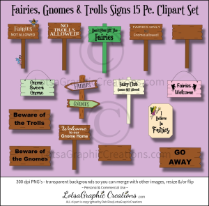 fairies, gnomes & trolls signs 15 pc. clipart set