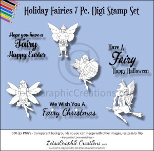 holiday fairies 7 pc. digi stamp set