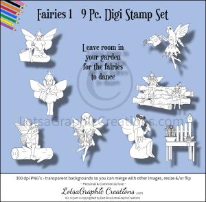 fairies 9 pc. digi stamp set 1