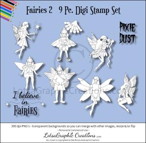fairies 9 pc. digi stamp set 2