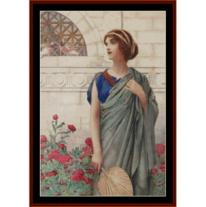 woman with fan – henry ryland cross stitch pattern by kathleen george at cross stitch collectibles