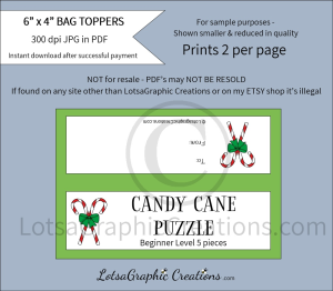 candy cane beginner level puzzle bag toppers