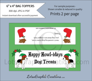 happy howl-idays dog treats bag toppers
