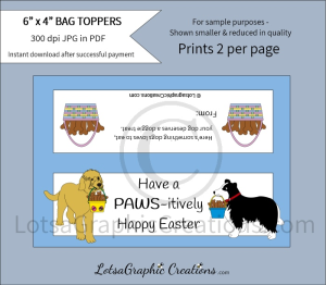 have a pawsitively happy easter dog treats bag toppers