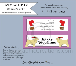 merry woofmas dog treats bag toppers