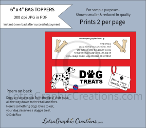 dog treats dalmation bag toppers