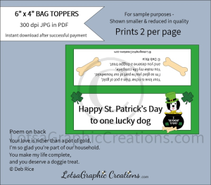 happy st. patrick's day to one lucky dog dog treats bag toppers