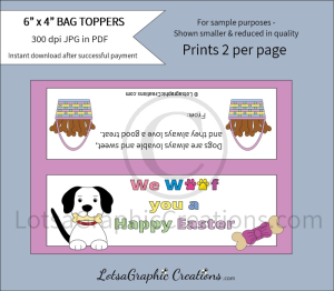we woof you a happy easter dog treats bag toppers