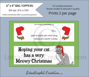 hoping your cat has a meowy christmas cat treats bag toppers