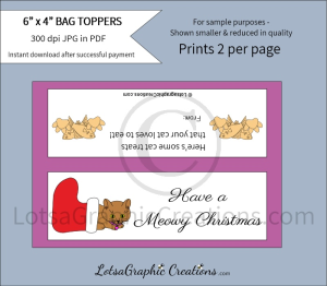 have a meowy christmas cat treats bag toppers 1