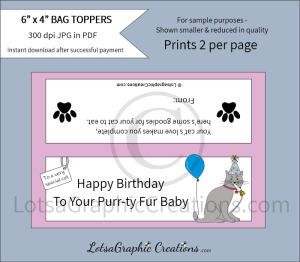 happy birthday to your purr-ty fur baby cat treats bag toppers