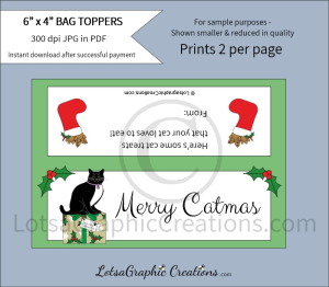 merry catmas cat treats bag toppers