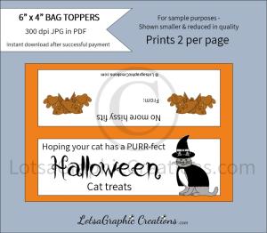 purr-fect halloween cat treats bag toppers
