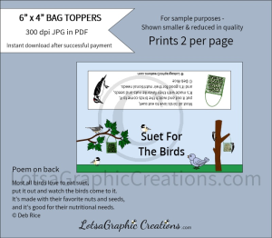 suet for the birds treats bag toppers