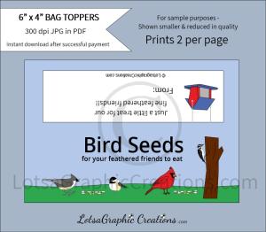 bird seeds treats bag toppers