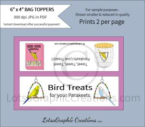 parakeet bird treats bag toppers