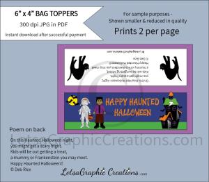 happy haunted halloween treats bag toppers