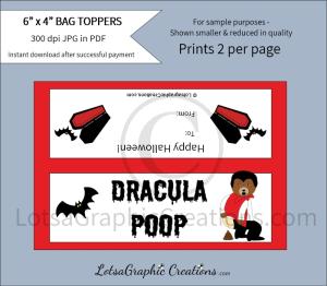 dracula poop bag toppers