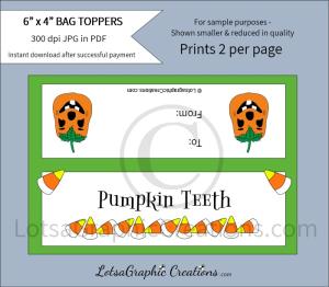 pumpkin teeth bag toppers