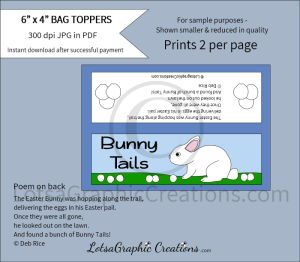bunny tails treats bag toppers