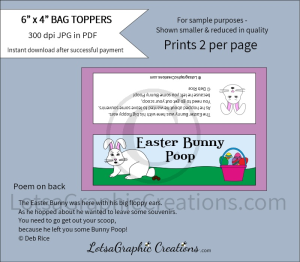 easter bunny poop treats bag toppers 1