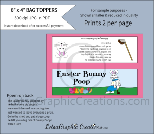 easter bunny poop treats bag toppers 2