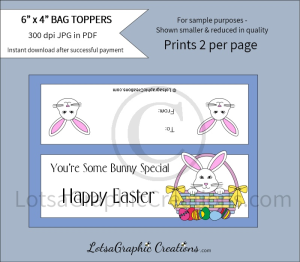you're some bunny special happy easter treats bag toppers
