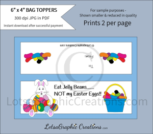 eat jelly beans not my easter eggs treats bag toppers