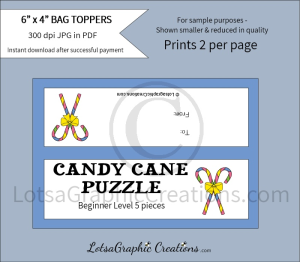 easter candy cane puzzle beginner level bag toppers