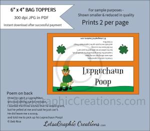 leprechaun poop bag toppers