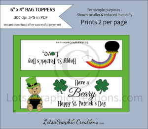 have a beary happy st. patrick's day bag toppers