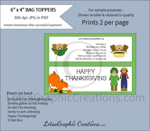 happy thanksgiving bag toppers