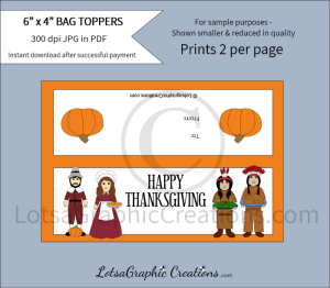 happy thanksgiving pilgrims & indians bag toppers