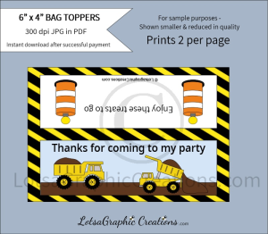 thanks for coming to my party dump trucks bag toppers