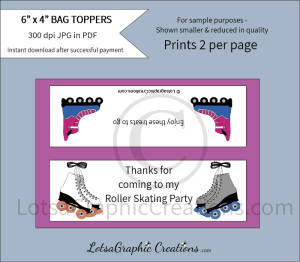 thanks for coming to my roller skating party bag toppers