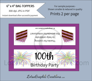 100th birthday party bag toppers