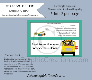 for a great school bus driver bag toppers